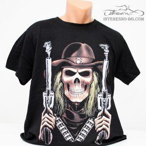 Скелет с револвери-тениска