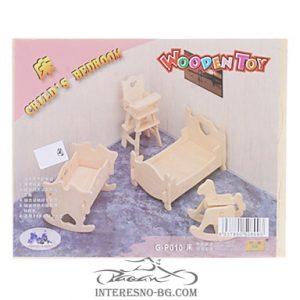 3D дървен пъзел-Детска стая
