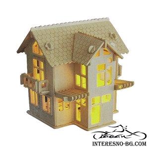 3D дървен пъзел-светеща къща