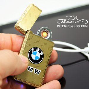 Елегантна, тънка, златиста USB запалка BMW.