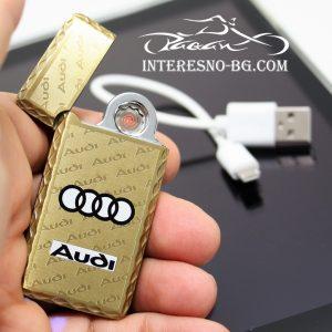 Елегантна, тънка, златиста USB запалка AUDI.