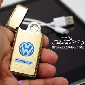 Елегантна, тънка, златиста USB запалка VW.