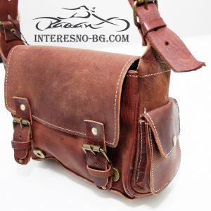 Ръчно изработена кафява дамска чанта от естествена кожа.