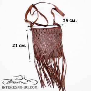 Ръчно изработена кафява дамска чанта с ресни от естествена кожа.