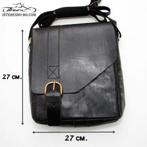 Ръчно изработена луксозна, черна мъжка чанта от дебела естествена кожа.