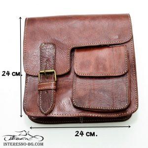 Ръчно изработена луксозна, кафява мъжка чанта от дебела естествена кожа.