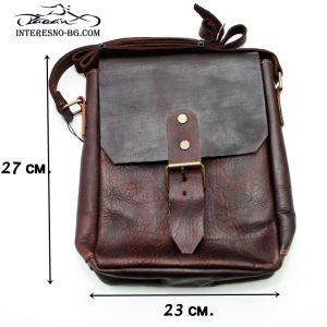 Ръчно изработена луксозна, мъжка чанта от дебела естествена кожа.