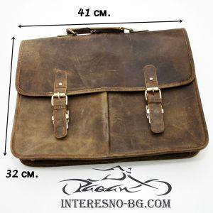 Ръчно изработена луксозна, мъжка бизнес чанта от дебела естествена кожа.