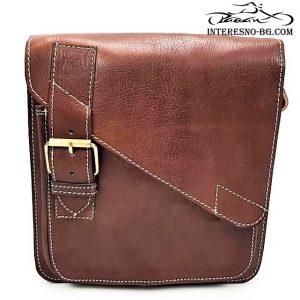 Ръчно изработена луксозна, кафява мъжка чанта от естествена кожа.