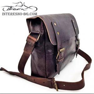 Ръчно изработена луксозна мъжка чанта тип куфарче от дебела естествена кожа.