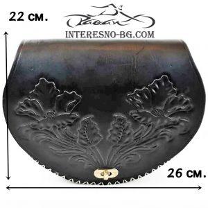 Ръчно изработена черна дамска чанта от естествена кожа.