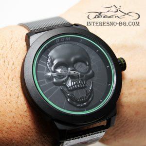 Екстравагантен стоманен мъжки часовник с Череп.