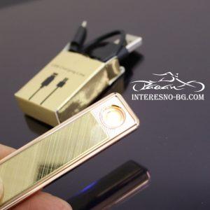 Елегантна,златиста, тънка дамска USB запалка.