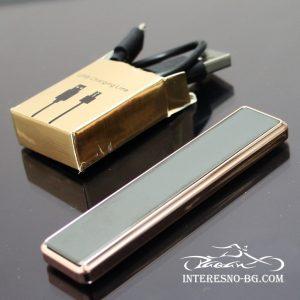 Елегантна,черна, тънка дамска USB запалка.