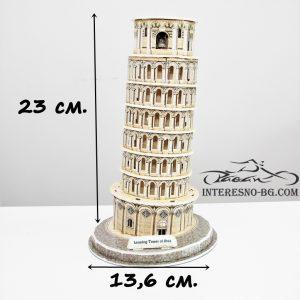 3D пъзел от картон- Кулата в Пиза.