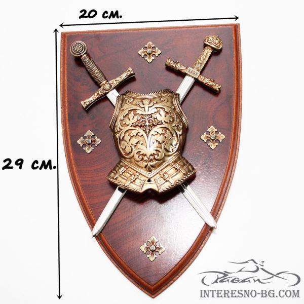 Сувенирен герб с 2 мини меча.
