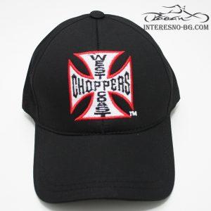 Черна, бейзболна шапка с козирка Choppers.