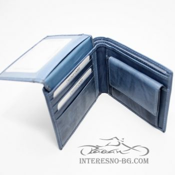 Мъжки елегантен кожен портфейл от естествена кожа
