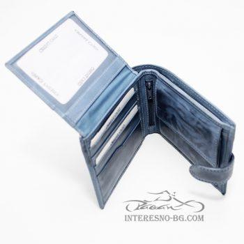 Елегантен син портфейл от ест.кожа