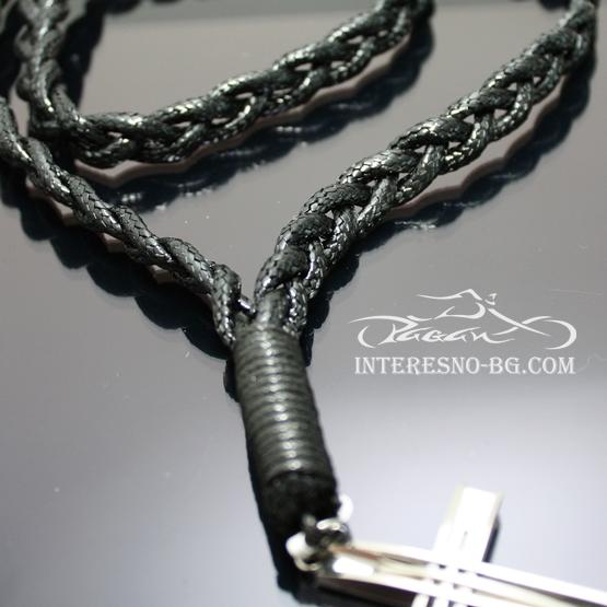 Мъжки плетен гердан с висулка Кръст от стомана