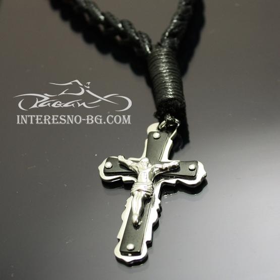 Мъжки плетен гердан с Кръст от стомана
