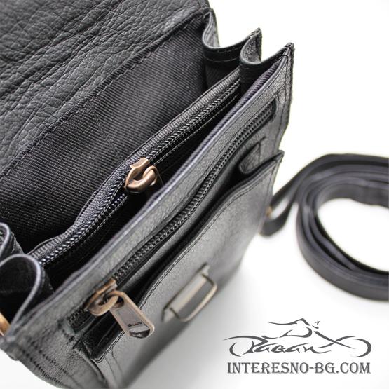 Черна мъжка чанта от естествена кожа