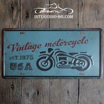 Метална табела за стена Vintage Motorcycle